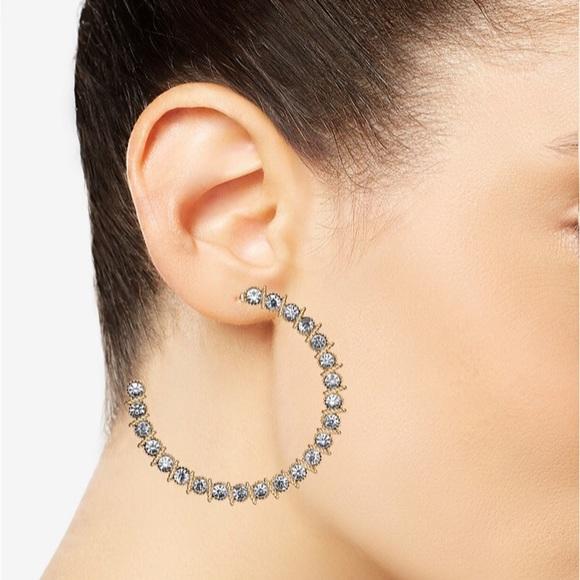 c75eca4ce4c0a Thalia Sodi Gold Crystal Hoop Earrings NWT